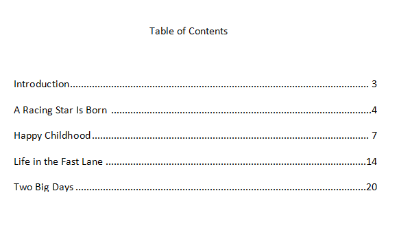 how to write a table of contents mla